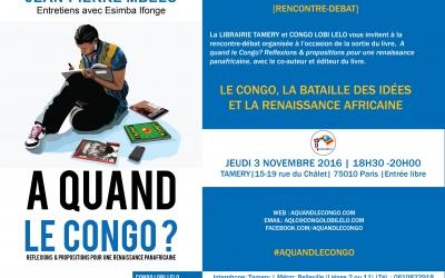 Rencontre: «Le Congo, la bataille des idées et la renaissance africaine» à Paris